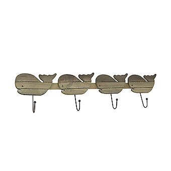 Distressed Wooden Whale 4 Hook Hanging Wall Rack 28 Inches Long