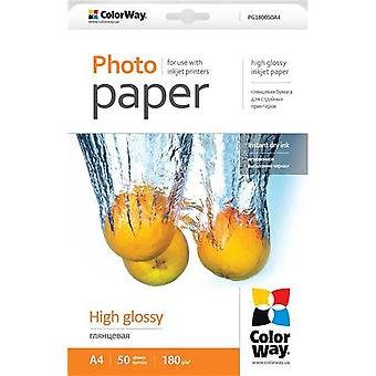 ColorWay A4, high gloss photo paper, 50 sheets, A4, 180 g/m²