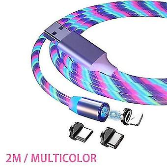 2m Magnetic Charging Cable Fast Charging Mobile Phone Charging Cable-lightning 3 In 1