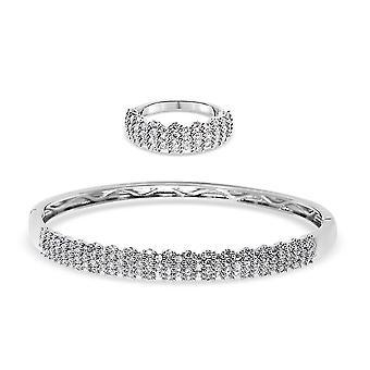 TJC Bryllup Cluster Smykker Sæt til kvinder K Hvid Cubic Zirconia 0,02ct