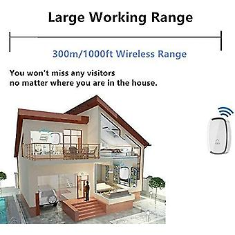 Wireless Folder, Waterproof Doorbell Within 300 Meters Of Range, Wireless Chime With 1 Channel And 1 Plug-in Receiver And 36 Volume Bells At 4 Levels
