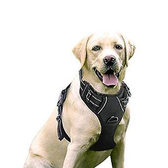 Rabbitgoo الكلب تسخير، لا سحب تسخير الحيوانات الأليفة مع 2 مقاطع المقود، قابل للتعديل لينة مبطن سترة الكلب، عاكسة لا خنق الحيوانات الأليفة أكسفورد سترة مع سهولة التحكم
