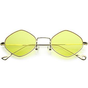 Premium Small Metal Diamond Sunglasses Ultra Slim Arms Color Tinted Flat Lens 51mm