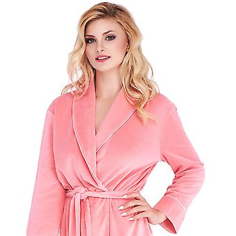 Mio Lounge Coral Velour Piped Robe ML16V2RB