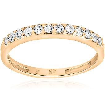 1/2ct diamant vigsel ring 14K gult guld Womens stapelbara band smycken runda