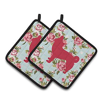 Chihuahua Shabby Chic Blue Roses   Pair of Pot Holders