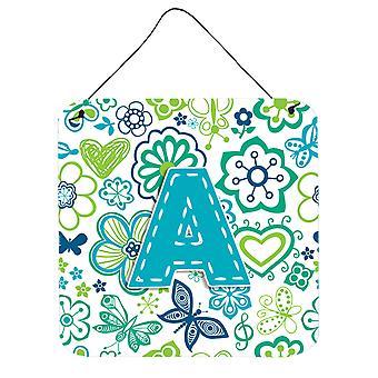 رسالة الزهور والفراشات أزرق مخضر اللون الأزرق الجدار أو الباب معلقة CJ2006 يطبع