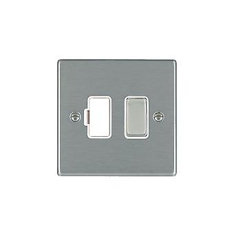 Hamilton Litestat Hartland Satin Stainless 1g 13A DP Fused Spur SS/WH