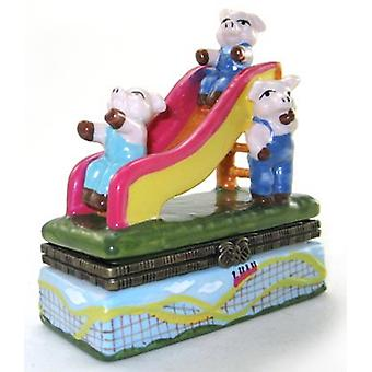 The Three Little Sliding Pigs Hinged Trinket Box phb