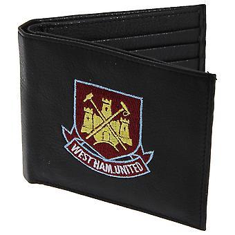 West Ham FC Herre officielle læderpung med broderede fodbold Crest