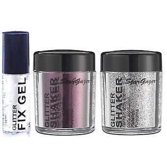 Stargazer purpurina suelta agitador con brillo Fix Gel pegamento de acero gris, granate