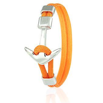 Skipper kotwicy bransoleta 21 cm nylon pomarańczowy bransoletki ze srebra kotwica 6971