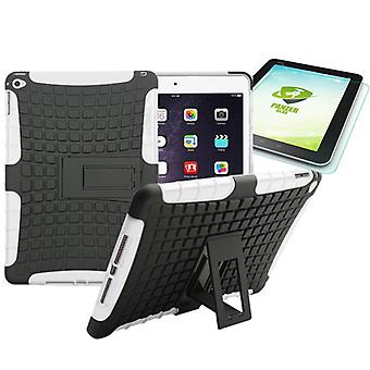 Hybrid outdoor protective case white for iPad air 2 bag + 0.4 H9 tempered glass