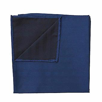 Midnight Blue Herringbone Silk Pocket Square