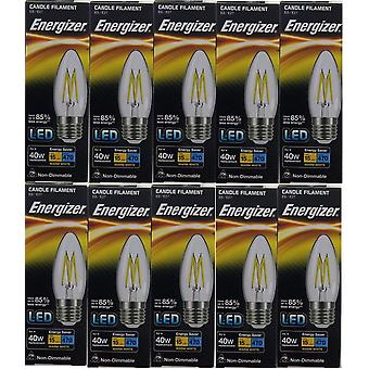 10 x Energizer LED Filament kaars ES E27 4W = 40W 470lm Warm witte schroefdop lamp [energieklasse A +]
