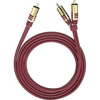 كابل RCA أويهلباتش الصوت/فونو Y [2 x RCA التوصيل (فونو)-1 x RCA التوصيل (فونو)] 3 م الأحمر موصلات المطلية بالذهب
