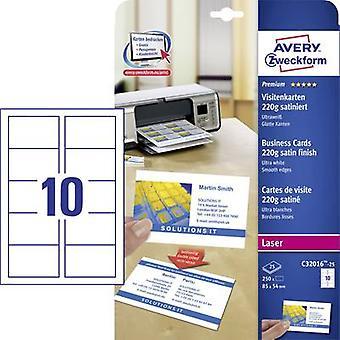 Avery-Zweckform C32016-25 utskrivbara visitkort (slät kant) 85 x 54 mm vit 250 PC (s) pappersstorlek: A4