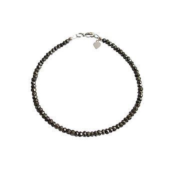 Gemshine - ladies - faceted bracelet - pyrite - black - 925 Silver-