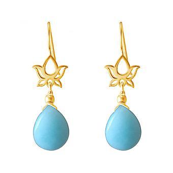Mandala de oro plateado damas - pendientes - aretes - 925 plata--flor de loto--4 cm gota de turquesa--azul - YOGA