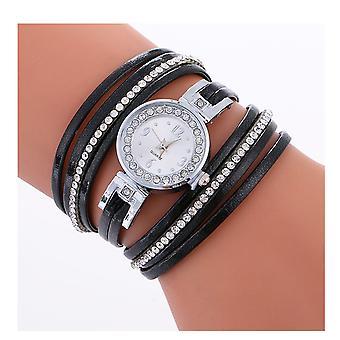 Ladies sølv se kvinner kvinne Smart klokker dobbel svart smykker stropp