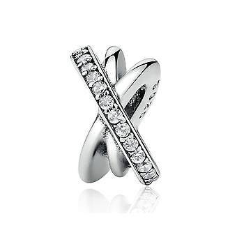 Argent sterling charme Crossed anneaux