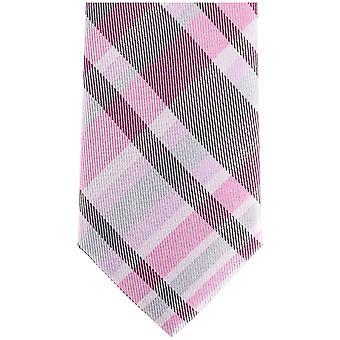 Gravatas de Knightsbridge verificado seda gravata Skinny - rosa/cinza