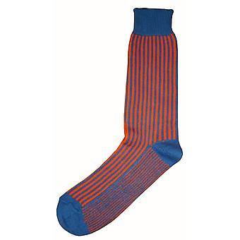Bassin en Brown verticale streep Midcalf sokken - blauw/oranje