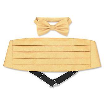 Cumberbund & BowTie Solid METALLIC Design Men's Cummerbund Bow Tie Set