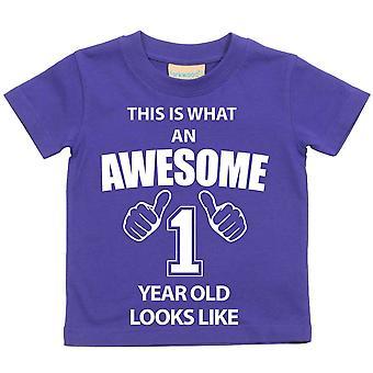 これは何の素晴らしい 1 年古いに見えるような紫の t シャツです。