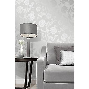 Elegante Quarz Silber Blumentapete Wanddekoration 0,52 x 10,05 m