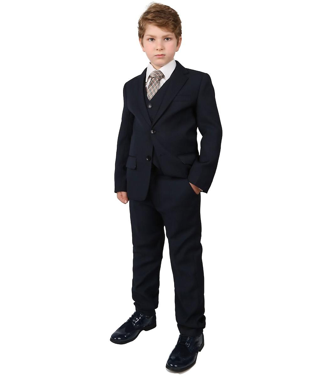 Boys Regular Italian Fit Navy Blue Wedding Prom Suit with Shirt and Tie