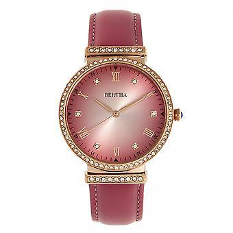 Bertha Allison skinn-bånd ur - rosa