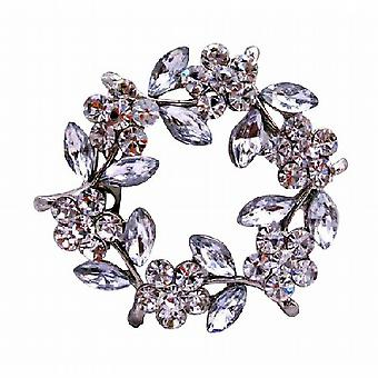 Simulated Diamond Flower Brooch Pin with Enamel White Leaves
