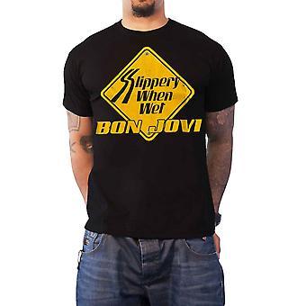 Bon Jovi T Shirt glissant quand Wet Band logo nouveau officiel Mens noir