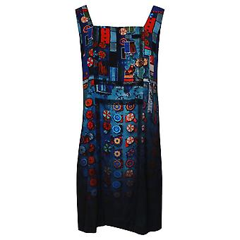 Aventures Des Toiles Sleeveless Art Print Blue Sun Dress