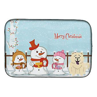 Merry Christmas Carolers Chow Chow White Dish Drying Mat