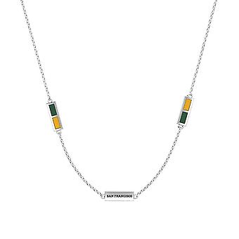 University Of San Francisco Sterling Silver Engraved Triple Station Necklace In Green and Yellow