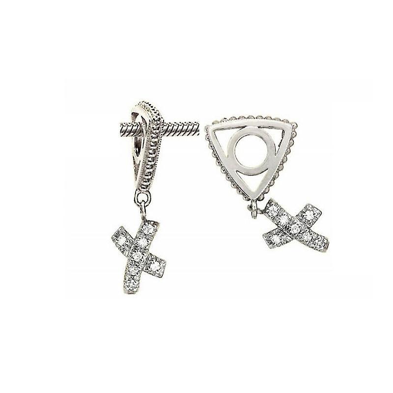 Storywheels Silver & Diamond Kiss Dangle Charm S031D