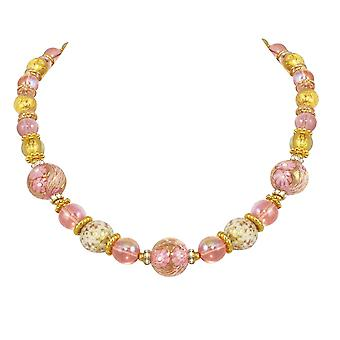 Eternal Collection Caravella Rose And Gold Venetian Murano Glass Gold Tone Necklace