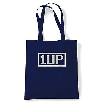 1Up, Retro Gaming Tote - Video Game Gamer Reusable Shopping Canvas Bag Gift