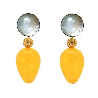 Boucles d'oreilles Gemshine avec nacre et gouttes de jade jaune doré - Gold plaqué