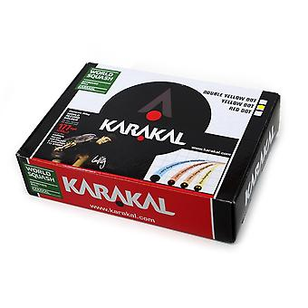 Karakal Yellow Dot Super Slow Tournament Black Rubber Squash Balls - Box of 12