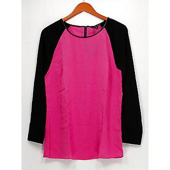 View by Walter Baker Women's Top Color Block Long Sleeve Pink A263081
