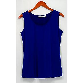 Susan Graver Top Sleeveless Scoop Neck Double Stitch Hem Tank Blue A298494