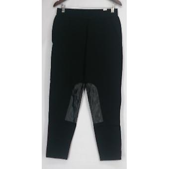 Nick Verreos Pants Pull On w/ Faux Leather Detail Black Womens A421243