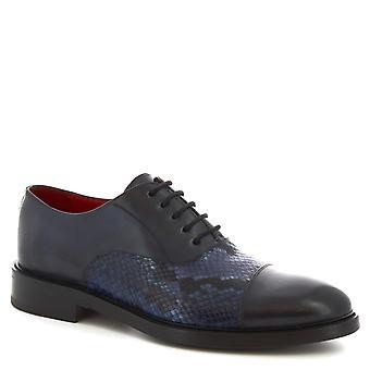 Leonardo Shoes Men's handmade lace-ups shoes python print blue calf leather