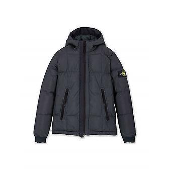 Stone Island Junior Navy Blue Crinkle Reps Down Jacket