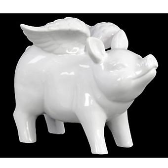 Winged pig standing figurine in ceramic, glossy white