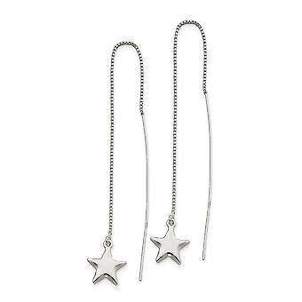 925 Sterling Argent Poli Star Threader Boucles d'oreilles Bijoux Bijoux pour les femmes - 2,5 Grammes