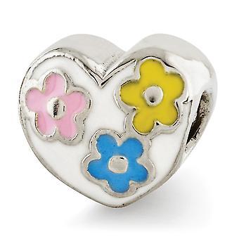 925 sterling sølv poleret pink emalje blå emalje gul emalje antikke finish refleksioner børn emaljeret hjerte med F
